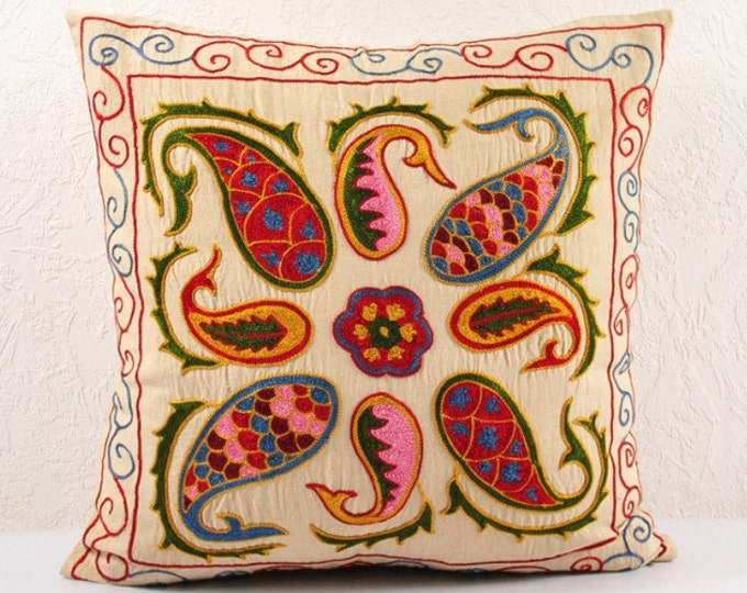SALE! Handmade Suzani Pillow Cover USP11B, Suzani Pillow, Suzani Throw, Suzani, Decorative pillows, Accent pillows, Small Price