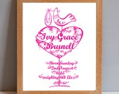 New Baby Personalised Gift Print, Personalised Christening Gift Print, Baby Shower Print
