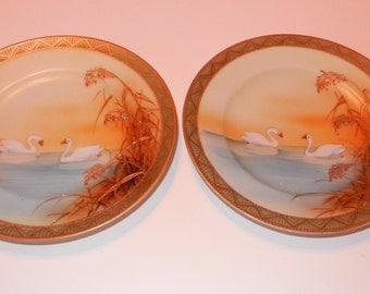 Pair 6 inch Elegant Porcelain Hand Painted Nippon Moriage Swan Plates