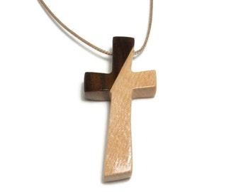 Cross Pendant Wood - Mens Cross Necklace -Minimalist Cross Pendant - Husband Gift - Boyfriend Gift - Maple Cross Necklace