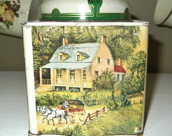 Four Seasons Vintage Tin, Old Coffee Tin with Petty Country, Farm Scenes