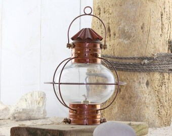 "Lantern Copper 15"", Vintage Beach Decor Nautical Restored by SEASTYLE"