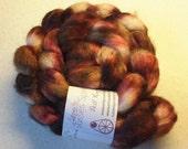 Summer Roses SW Merino Wool  Silk Roving - Hand dyed Spinning Fiber Pink Wine White Olive - EU Seller