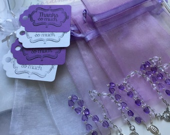 """100 wedding favors,baptism favors 100 Organza bags 4"""" x 6"""" white and lavender bag,100 white and lavender rosaries favor and 100 tags"""