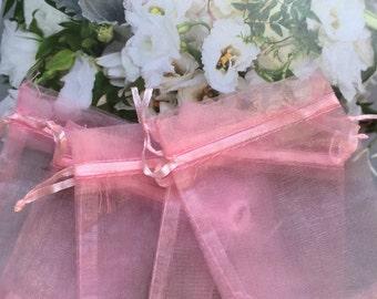 """30 pcs Organza bags, 4"""" x 3"""" organza bag , favor bag , jewel organza bag,pink organza bags,comunnion organza bags, wedding favor bags"""