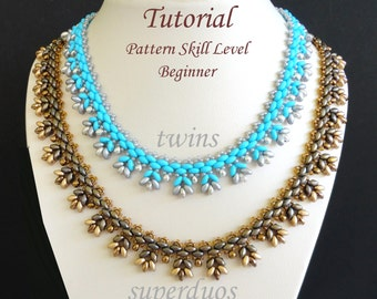 PUNTILLA twin or superduo beaded necklace beading tutorials and patterns beadwork jewelry beadweaving tutorials beading pattern instructions