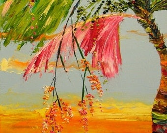 fertile palm ( original oil painting with sunset )