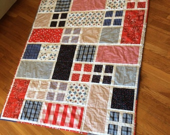 American Throw, red white and blue quilt, lap quilt