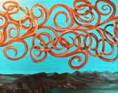 Turquoise, original painting, southwest fantasy art, turquoise trail, fantasy tree, surreal southwest, large painting, new mexico