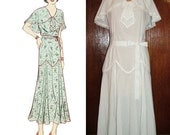 1930s Style Cape Collar Day Dress with Long Pointed Fluttery Skirt Custom Made in Your Size From a Vintage Pattern