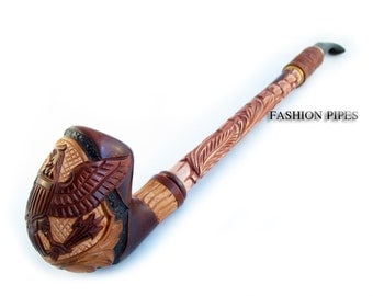 "Churchwarden Wooden Pipe Decorated with Leather ""USA EAGLE"" Tobacco Pipe, Handcrafted Pipe of Pear Wood 13'', Designed for pipe smokers"