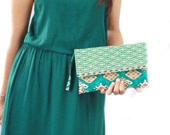 Envelope Clutch in Teal Batik print, Cotton clutch, Clutch purse, wristlet purse