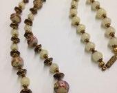 Venetian aventurine glass Bead Necklace/Vintage 1940s Murano Glass Aventurine Swirl Lampwork Beads/Gorgeous!
