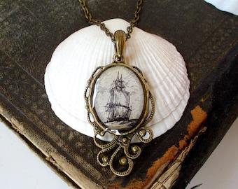 Pirate Ship Necklace - High Seas Antique Nautical Print Pendant in Bronze - Pirate Jewelry - Beach