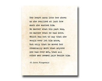 F. Scott Fitzgerald Romantic Love Quote Inspirational Poetry, Golden Quotes, Word Art, Literary Passage, Fine Art Print