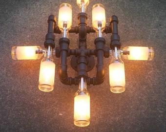 applique murale lampe bouteille de bi re raccords et tuyau. Black Bedroom Furniture Sets. Home Design Ideas