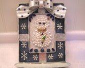 """Framed Jewelry """"Precious Little Snowman"""" wth Christmas Tree - Metal Stand Up Stand w/Bow"""