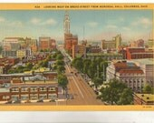 Linen Postcard, Columbus, Ohio, Looking West on Broad Street, Memorial Hall, 1950