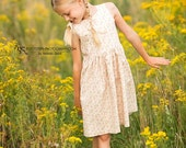 Floral Cotton Girls Dress - Wedding, Flower Girl, Special Occasion, Party - 100% Cotton - Ages 2 to 10 years, handmade, vintage style print