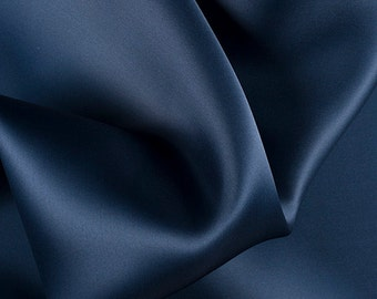 "54"" Wide 100% Silk Satin Organza Navy Blue by the yard"