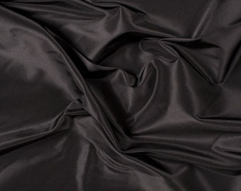"54"" Wide 100% Silk Taffeta Black by the yard"