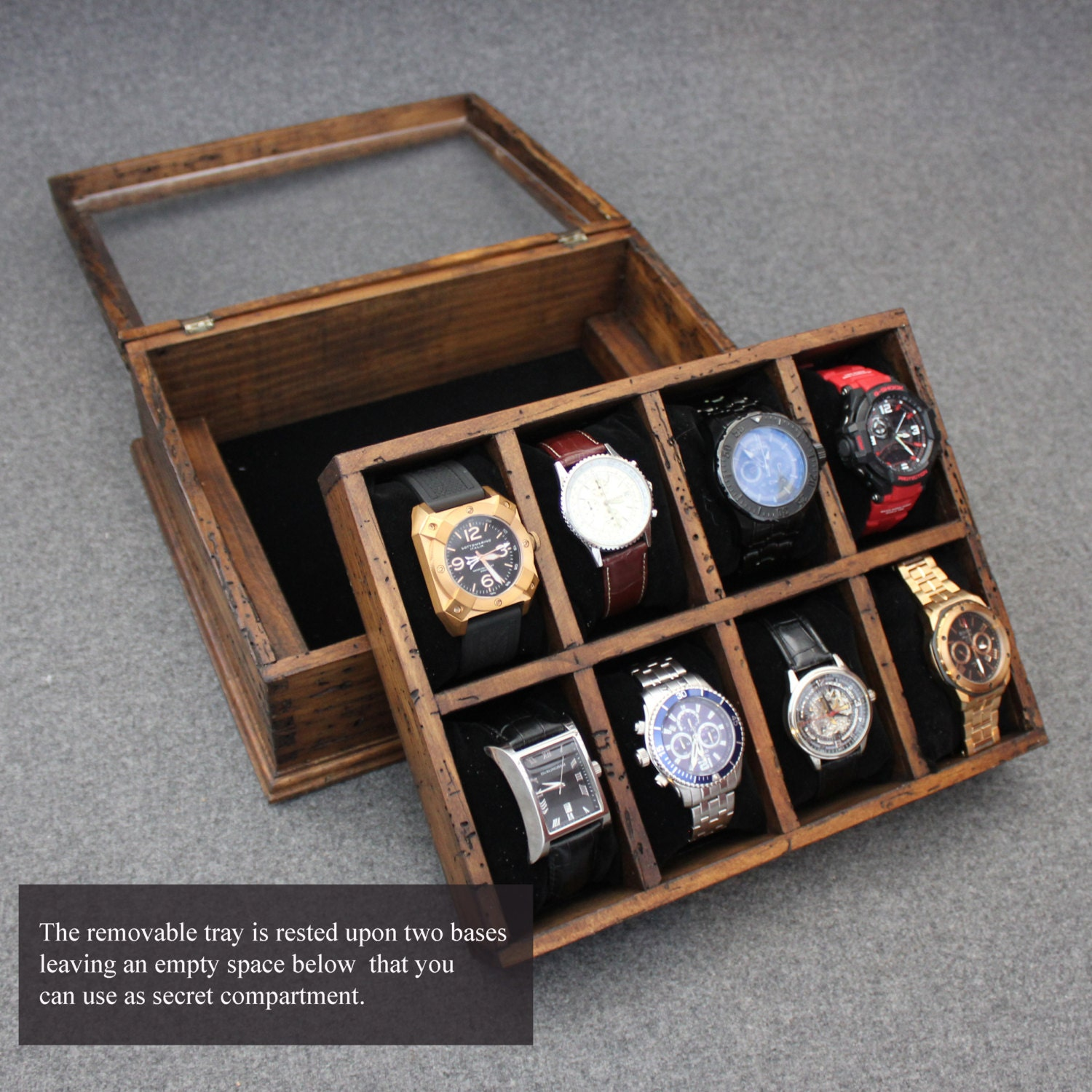 New personalized rustic men 39 s watch box for 8 by ourweddinginvites for Watches box