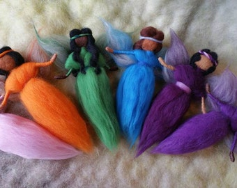 6 African American Fairies, Ethnic Needle Felted Fairies, Rainbow of Colors, Walforf Inspired