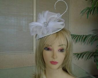 White bridal hat
