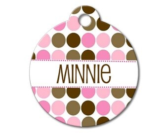 Pink Polka Dots - Dog ID Tags, Cat ID Tags, Dog Tags for Dogs, Dog Name Tags, Personalized Pet Tag, Custom Pet Tag - Pattern Pet Tags
