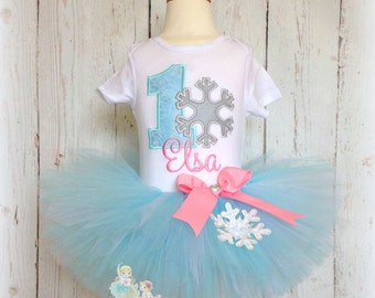 Snowflake birthday outfit - 1st birthday tutu outfit - winter birthday outfit - winter wonderland - winter ONEderland - silver and blue tutu