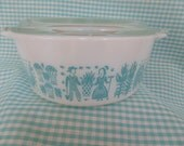 Pyrex Butterprint Covered Casserole -- Turquoise Butterprint -- Turquoise and White Pyrex -- #472