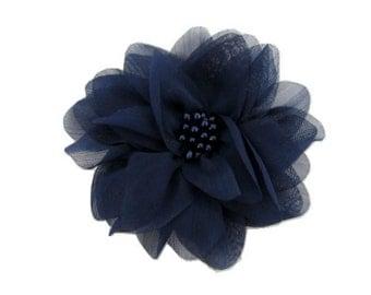 "Navy Chiffon Flower. 4"" Dark Navy Chiffon Flower. 1 Pc.  ISLA Collection. A3-Sf-002L"