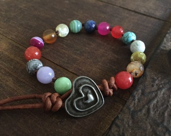Chakra Leather Beaded Bracelet Girlfriend Gift gemstone jewelry boho bohemian gifts for her