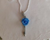 Vintage Look Key Necklace Rose of Blue Steam Punk Jewelry