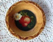 Strawberry Decorative Tin Tart Plate Hand Tole Painted