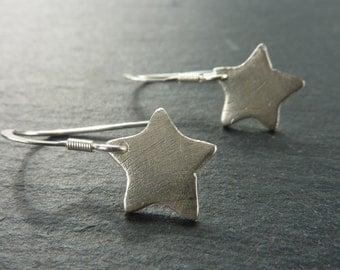 Silver Starlight Star Earrings on Sterling SIlver Hooks - Free UK Postage
