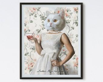 Another Meow-tini Please - Cat Painting - Cat Portrait - Bar Art - Kitchen Art - Alcohol Art - Kitchen Print - Bar Print - Cat Art - Martini