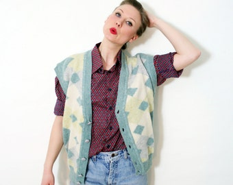 Vintage Pastel Knit Wool Cardigan Sweater Vest
