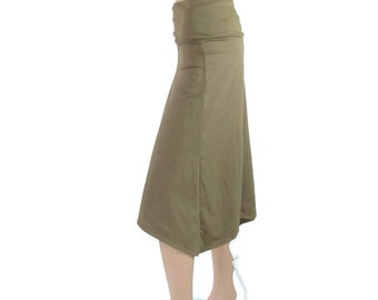 Asymmetrical Wide Leg Gauchos Pants- Hi Low Pants-Eco Friendly,Hand Dyed Bamboo/Organic Cotton Jersey-Custom Size and Color-XXS thru Large