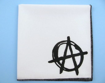 HANKIE- ANARCHY shown on super soft white cotton hanky-or choose from any solid color or plaids shown in pics