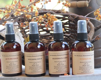 Fall scents room spray gift pack 4 pack of Room & Linen Spray fall fragrances room freshener fall home Montana made room and linen spray