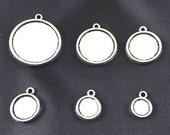 20pcs 8mm, 10mm, 12mm, 14mm, 16mm, 18mm, 20mm, 25mm Antique Silver Double Sided Cabochon Base Setting Pendants