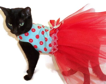 Cat Dress - Cat Clothes - Red and Turquoise Polka Dot Cat Dress with Swarovski Crystals -Cat Clothing - Cat Tutu