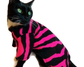 Cat Clothes - Cat Pajamas - Hot Pink and Black Tiger Striped Fleece Cat Pajamas - Cat Onesie - Cat Clothing