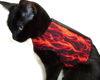 Flame Cat Harness-Boy Cat Clothes-Boy Cat Harnesses-Cat Harness-Custom Cat Clothing-Clothes for Cats-Harnesses for Cats-Cat Jacket-Cat Coat