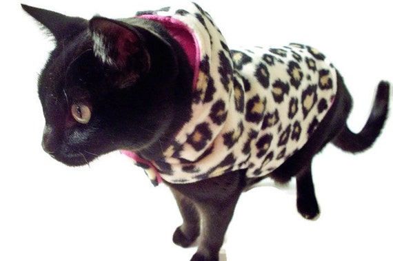 Cat Jacket - Cat Clothes -Fleece Cat Jacket - Cat Clothing - Cat Apparel - Cat Sweater - Clothes for Cats - Gift for Cat Lover