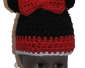 "18"" Doll Clothes Crocheted Minnie Mouse Hat in red"