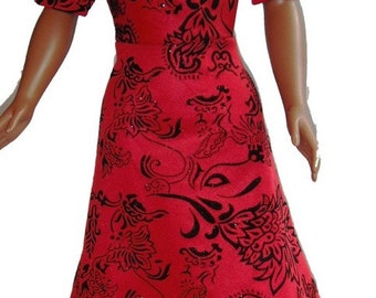 "36"" Doll Clothes Kimono sleeve Dress red & black flocking invisible zipper closure"