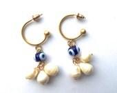 Evil Eye Earrings Bohemian Freshwater Pearl Gold Plated Hoop Earrings Blue Evil Eye Nazar Eye Earrings Dangle Drop Statement Earrings