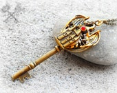 Dragon Necklace / Key to my Heart Necklace / Skeleton Key Necklace / Best Christmas Gifts for Men / Christmas gifts for Teens / Ruby